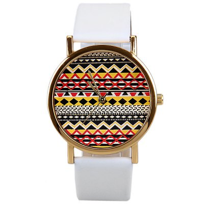 Гаджет   Wave Patterned Design Watch with Round Dial and Leather Band for Women Women