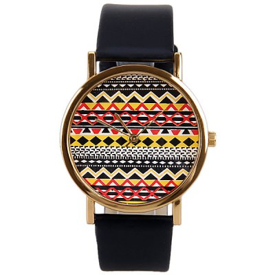 Wave Patterned Design Watch with Round Dial and Leather Band for Women