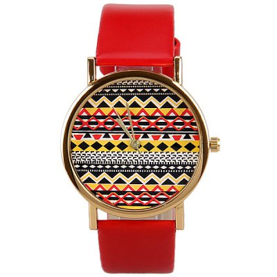 Гаджет   Wave Patterned Design Watch with Round Dial and Leather Band for Women