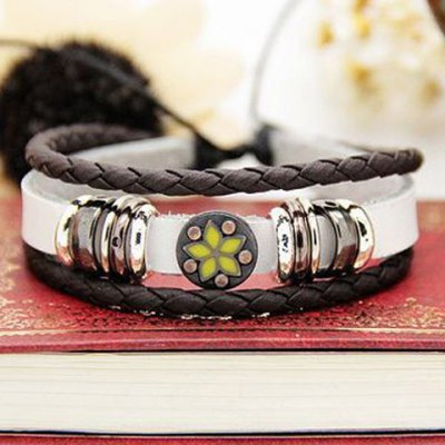 Гаджет   Characteristic Floral Print Multi-Layered Faux Leather Bracelet For Men and Women