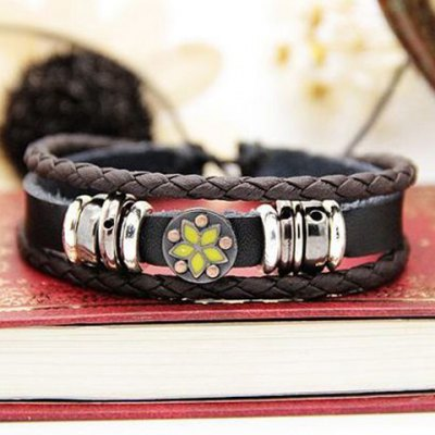 Гаджет   Characteristic Floral Print Multi-Layered Faux Leather Bracelet For Men and Women Men