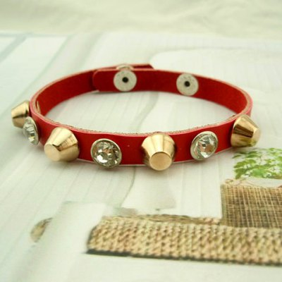 Здесь можно купить   Punk Diamante Rivet Embellished Wrap Bracelet For Men and Women