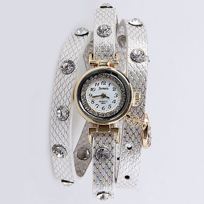 Watch with Moon and Star Pendant Jewel - encrusted Round Dial for Women