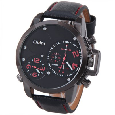 Oulm Brand Watch with Double - movtz Round Dial and Leather Band for Men