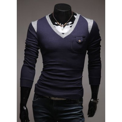 Casual V-Neck Color Block Long Sleeve Men's Pullover Knitted Sweater