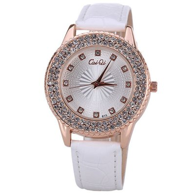 Гаджет   Water Resistant Quartz Watch with 12 Diamonds Hour Marks Leather Watchband for Women