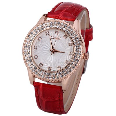 Water Resistant Quartz Watch with 12 Diamonds Hour Marks Leather Watchband for Women