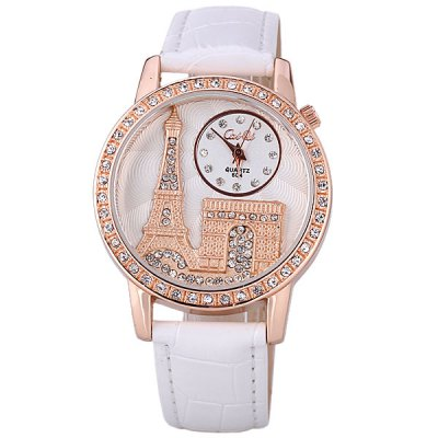 Stylish Women Watch Analog with Tower Diamonds Round Dial PU Leather Watch BandWomens Watches<br>Stylish Women Watch Analog with Tower Diamonds Round Dial PU Leather Watch Band<br><br>Watches categories: Female table<br>Style : Diamond<br>Movement type: Quartz watch<br>Shape of the dial: Round<br>Display type: Pointer<br>Case material: Stainless steel<br>Case color: Gold<br>Band material: PU leather<br>Clasp type: Pin buckle<br>Band color: White<br>Waterproof: Life waterproof<br>Special features: Three needles<br>The dial thickness: 0.7 cm<br>The dial diameter: 3.8 cm<br>Product weight: 40 g<br>Package weight: 0.09 kg<br>Product size (L x W x H) : 24.5 x 3.8 x 0.7 cm<br>Package size (L x W x H): 25.5 x 4.8 x 1.7 cm<br>Package contents: 1 x Watch