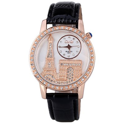 Stylish Women Watch Analog with Tower Diamonds Round Dial PU Leather Watch BandWomens Watches<br>Stylish Women Watch Analog with Tower Diamonds Round Dial PU Leather Watch Band<br><br>Watches categories: Female table<br>Style : Diamond<br>Movement type: Quartz watch<br>Shape of the dial: Round<br>Display type: Pointer<br>Case material: Stainless steel<br>Case color: Gold<br>Band material: PU leather<br>Clasp type: Pin buckle<br>Band color: Black<br>Waterproof: Life waterproof<br>Special features: Three needles<br>The dial thickness: 0.7 cm<br>The dial diameter: 3.8 cm<br>Product weight: 40 g<br>Package weight: 0.09 kg<br>Product size (L x W x H) : 24.5 x 3.8 x 0.7 cm<br>Package size (L x W x H): 25.5 x 4.8 x 1.7 cm<br>Package contents: 1 x Watch