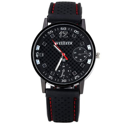 Men Quartz Watch with 4 Arabic Numbers and Square Hour Marks Rubber Watchband