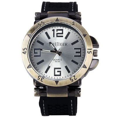 New Style WEIJIEER Watch with Round Dial and Leather Band for MenMens Watches<br>New Style WEIJIEER Watch with Round Dial and Leather Band for Men<br><br>Watches categories: Male table<br>Watch style: Retro<br>Movement type: Quartz watch<br>Shape of the dial: Round<br>Display type: Pointer<br>Case material: Stainless steel<br>Band material: Rubber<br>Clasp type: Pin buckle<br>The dial thickness: 1.1 cm<br>The dial diameter: 5 cm<br>Product weight: 90 g<br>Package weight: 0.14 kg<br>Product size (L x W x H): 26.8 x 5 x 1.1 cm<br>Package size (L x W x H): 27.8 x 6 x 2.1 cm<br>Package Contents: 1 x Watch