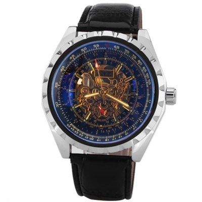 JARAGAR Mechanical Watch with Hollow out Design Dial and Leather Watchband for MenMechanical Watches<br>JARAGAR Mechanical Watch with Hollow out Design Dial and Leather Watchband for Men<br><br>Available Color: Blue<br>Band color: Black<br>Band material: Leather<br>Brand: Jaragar<br>Case color: Silver<br>Case material: Metal<br>Clasp type: Pin buckle<br>Movement type: Mechanical watch<br>Package Contents: 1 x Watch<br>Package size (L x W x H): 26.8 x 5.8 x 2.3 cm<br>Package weight: 0.14 kg<br>Product size (L x W x H): 25.8 x 4.8 x 1.3 cm<br>Product weight: 0.088 kg<br>Shape of the dial: Round<br>Style elements: Hollow Out<br>The bottom of the table: Gone<br>The dial diameter: 4.8 cm<br>The dial thickness: 1.3 cm<br>Watch style: Casual<br>Watches categories: Male table