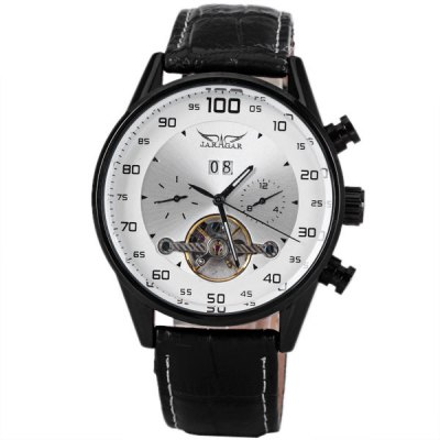 ФОТО JARAGAR Flywheel Sign Mechanical Watch Round Dial with Genuine Leather Watchband for Men