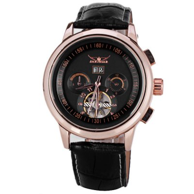 ФОТО JARAGAR Men Mechanical Watch with Flywheel Sign Round Dial and Genuine Leather Watch Band