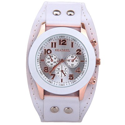 Гаджет   Quartz Watch with 9 Arabic Numbers and 3 Strips Hour Marks Wide Leather Watchband for Women Women