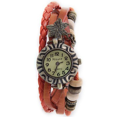 ФОТО Retro Women Bracelet Watch with Flower Pattern Design and 12 Arabic Numbers Hour Marks - Random Color