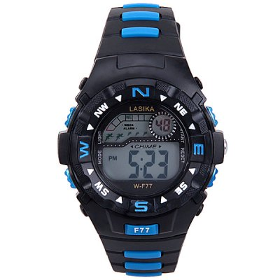 Military Watch with Blue LED Round Dial and Rubber Band for Men