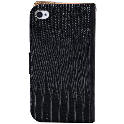 ФОТО Lizard Style Artificial Leather and Plastic Material Case with Card Holder for iPhone 4 / 4Sv