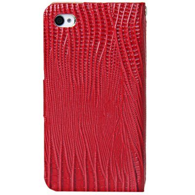 Гаджет   Lizard Style Artificial Leather and Plastic Material Case with Card Holder for iPhone 4 / 4Sv iPhone Cases/Covers
