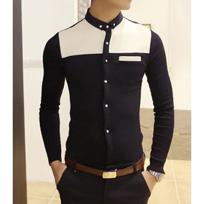 Buton Down Collar Color Block Knitting Long Sleeves Fitted Polyester Shirt