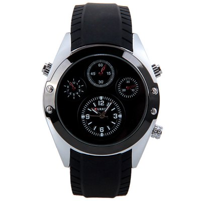Гаджет   CURREN Water Resist Quartz Watch with 4 Arabic Numbers and Strips Indicate Rubber Watchband for Men Men