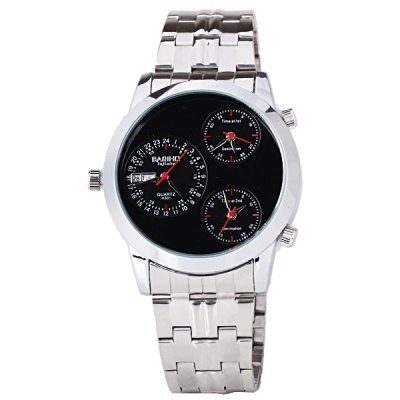 ФОТО Three Movt Quartz Watch with Analog Indicate and Stainless Steel Watchband for Men