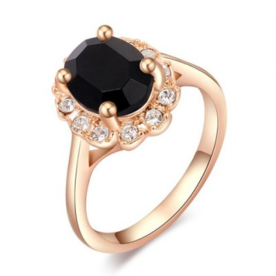 Diamante Black Faux Gemstone Embellished Alloy Ring For Women