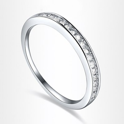 Simple One Row Rhinestone Embellished Alloy Ring For Women