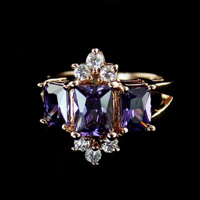 Purple Faux Crystal Embellished Alloy Ring For Women
