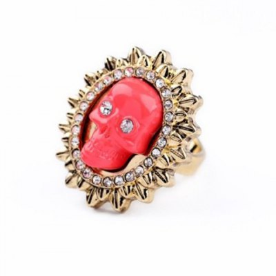 Characteristic Rhinestoned Skull Shape Alloy Ring For Women