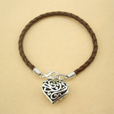 Cute Hollow Heart Pendant Faux Leather Charm Bracelet For Women