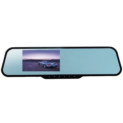 F9-128 Full HD 1080P 12M 170 Degree A+ Grade Wide Angle Lens 4.3-inch High Definition LCD Display Car Rearview Mirror Camera G-Sensor Video Recorder DVR Black Box - Blue
