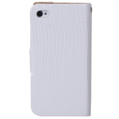 Lizard Style Artificial Leather and Plastic Material Case with Card Holder for iPhone 4 / 4Sv