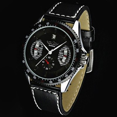 Mechanical Luxury Watch with Calendar Round Dial and Leather Watchband for MenMechanical Watches<br>Mechanical Luxury Watch with Calendar Round Dial and Leather Watchband for Men<br><br>Brand: Winner<br>Watches categories: Male table<br>Watch style: Casual<br>Available color: Black<br>Movement type: Mechanical watch<br>Shape of the dial: Round<br>Case material: Metal<br>Case color: Black<br>Band material: Leather<br>Clasp type: Pin buckle<br>Band color: Black<br>Special features: Calendar<br>The dial thickness: 1.0 cm<br>The dial diameter: 4.2 cm<br>Product weight: 0.050 kg<br>Package weight: 0.100 kg<br>Product size (L x W x H): 24.00 x 4.20 x 1.00 cm / 9.45 x 1.65 x 0.39 inches<br>Package size (L x W x H): 25.90 x 4.20 x 0.90 cm / 10.2 x 1.65 x 0.35 inches<br>Package Contents: 1 x Watch