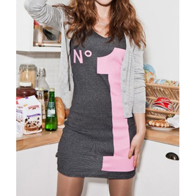 Stretchy Youthful Letter Print Long Sleeve Cotton Blend Slimming Dress