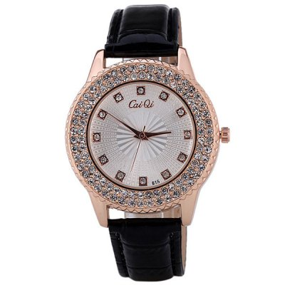 Water Resistant Quartz Watch with 12 Diamonds Hour Marks Leather Watchband for WomenWomens Watches<br>Water Resistant Quartz Watch with 12 Diamonds Hour Marks Leather Watchband for Women<br><br>Band material: Leather<br>Case material: Stainless Steel<br>Clasp type: Pin buckle<br>Movement type: Quartz watch<br>Package Contents: 1 x Watch<br>Package size (L x W x H): 24.00 x 4.00 x 1.00 cm / 9.45 x 1.57 x 0.39 inches<br>Package weight: 0.1000 kg<br>Product size (L x W x H): 24.30 x 4.00 x 0.90 cm / 9.57 x 1.57 x 0.35 inches<br>Product weight: 0.0430 kg<br>Shape of the dial: Round<br>The dial diameter: 4 cm<br>The dial thickness: 0.9 cm<br>Watches categories: Female table<br>Water resistance : Life waterproof