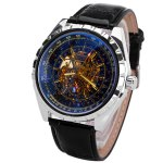 JARAGAR Mechanical Watch with Hollow out Design Dial and Leather Watchband for Men