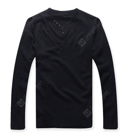 Buy Casual Style V-Neck Buttons Embellished Long Sleeves Men's Cotton Blend Sweater M BLACKISH GREEN