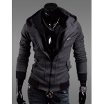 Buy Fashion Zipper Design Thicken Hooded Long Sleeve Slimming Cotton Blend Coat Men XL