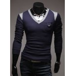 Buy Casual V-Neck Color Block Long Sleeve Men's Pullover Knitted Sweater M