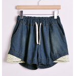 Plus Size Color Matching Openwork Drawstring Pockets Design Denim Women's Shorts