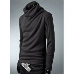 Buy Casual Cowl Neck Solid Color Long Sleeve Velvet Bottom Men's Sweater XL DEEP GRAY