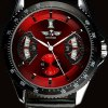 cheap Mechanical Luxury Watch with Calendar Round Dial and Leather Watchband for Men
