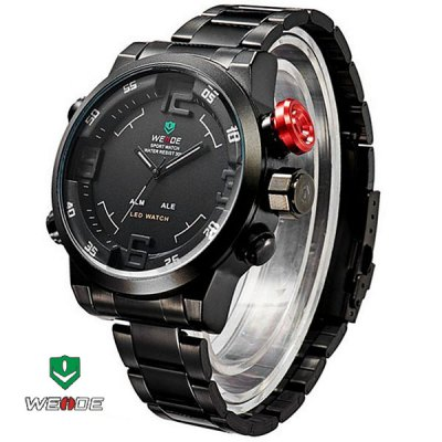Гаджет   WEIDE WH2309B Male Military Sports Quartz Watch 3AMT Water Resistant Double Movts Analog Digital Hidden LED Alarm Wristwatch Watches