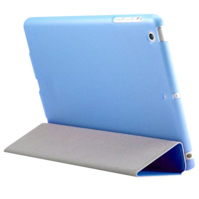 ФОТО Hair Texture Triple Folding Support Design PU + PC Protective Case for iPad Mini with Retina