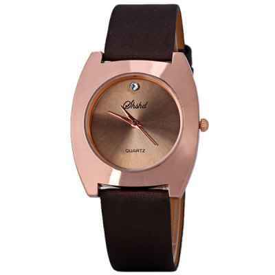 Trendy Quartz Watch for Women with 1 Diamond Indicate and Leather Watchband