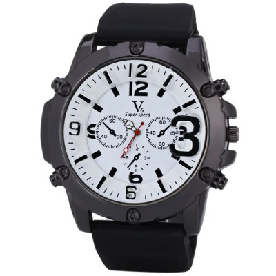 Гаджет   V6 Quartz Watch with Decorating Three Stitches Big Dial and Silicon Watchband for Men Men