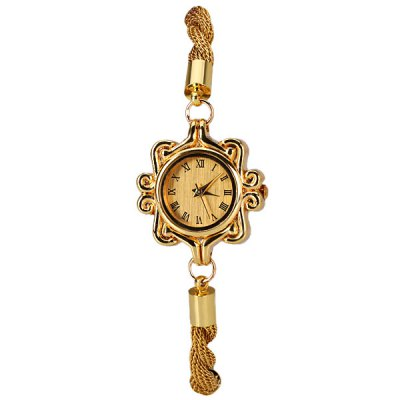 Lace Design Dial Quartz Watch with Analog Indicate and Chain Style Watchband for WomenWomens Watches<br>Lace Design Dial Quartz Watch with Analog Indicate and Chain Style Watchband for Women<br><br>Watches categories: Female table<br>Movement type: Quartz watch<br>Shape of the dial: Round<br>Display type: Pointer<br>Case material: Stainless steel<br>Band material: Stainless steel<br>Clasp type: Jewelry clasp<br>The dial thickness: 0.6 cm<br>The dial diameter: 2.7 cm<br>Product weight: 20 g<br>Package weight: 0.07 kg<br>Product size (L x W x H) : 22 x 2.7 x 0.6 cm<br>Package size (L x W x H): 23 x 3.7 x 1.6 cm<br>Package contents: 1 x Watch