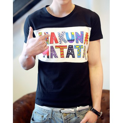 Korean Style Round Neck Personalized Letters Print Short Sleeves Polyester T-shirt For Men