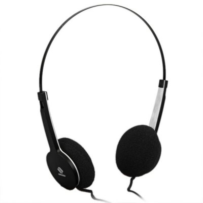 QHS - 901 Comfortable Fit Lightweight Plastic Housing Adjustable Stainless Steel Headband 3.5MM Jack Dynamic Sound Stereo Headphone Headset with MIC